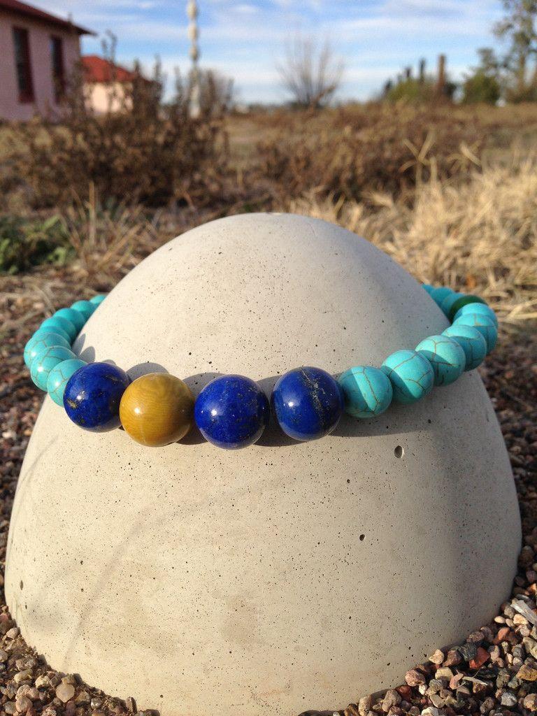 Turquoise & Lapis color statement necklace