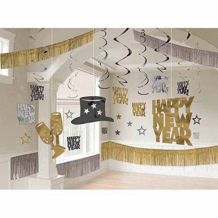 New Years's Giant Black Silver & Gold Room Decoration Kit - Walmart.com