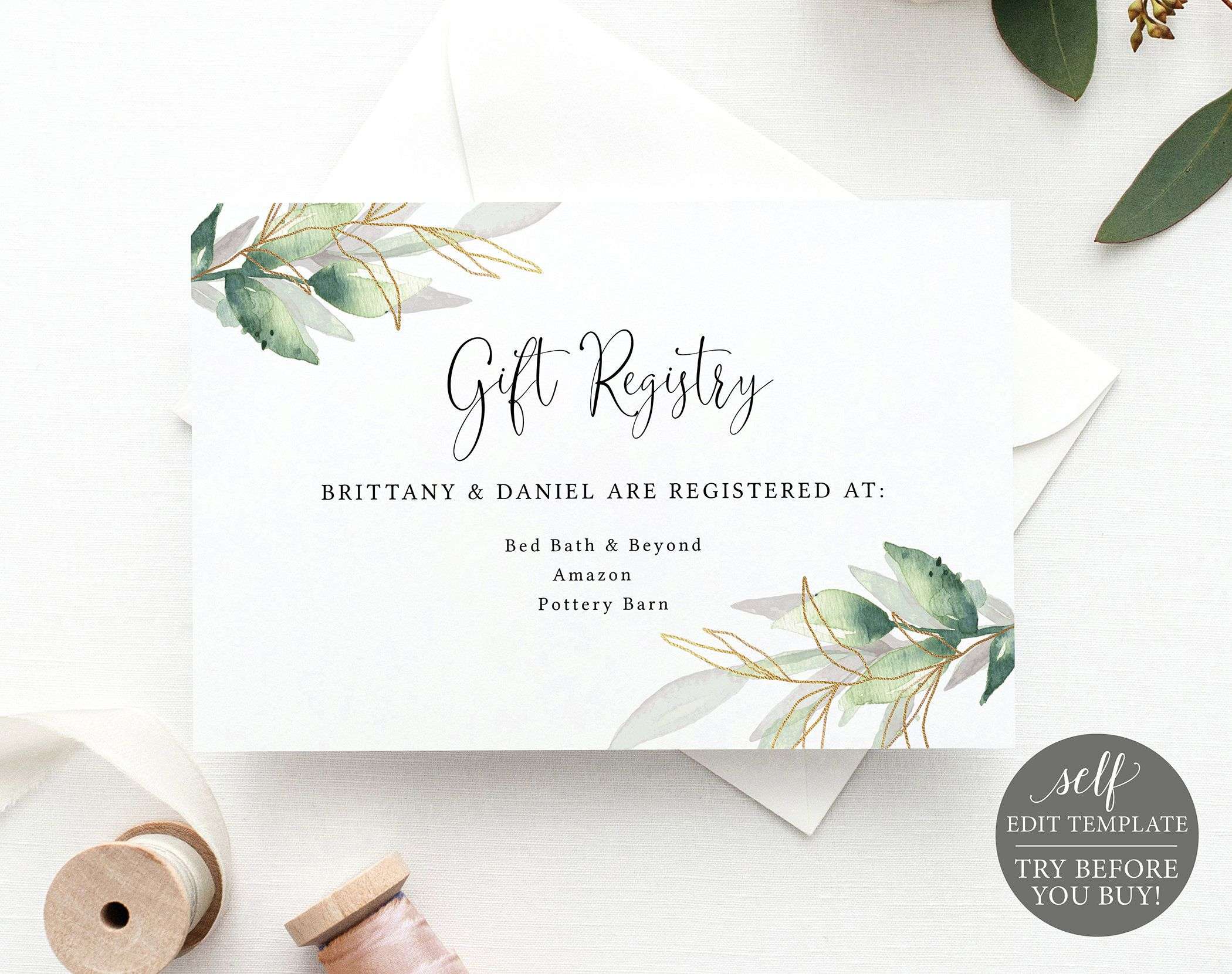 Wedding Gift Registry Card Template Greenery Gold Editable Etsy Wedding Gift Registry Cards Gift Card Template Wedding Gift Cards