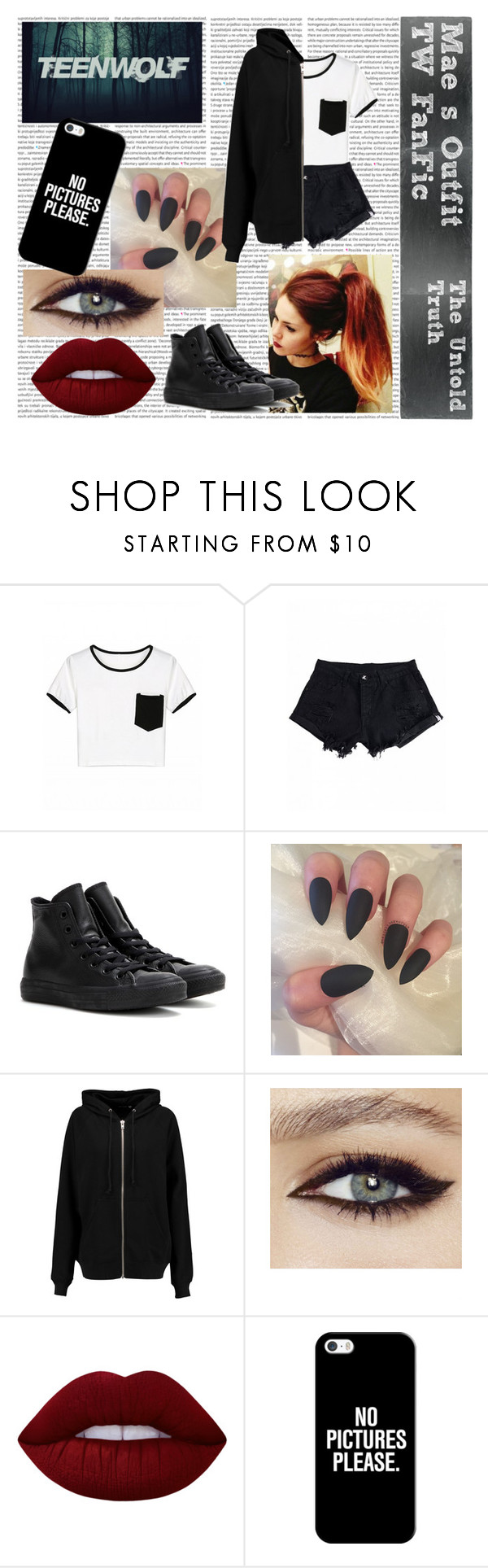 """""""Mae's Outfit ~ 4"""" by mynameissox ❤ liked on Polyvore featuring Converse, BLK DNM, Lime Crime and Casetify"""