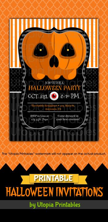 Printable Halloween Party Invitation With A Cartoon Jack O Lantern