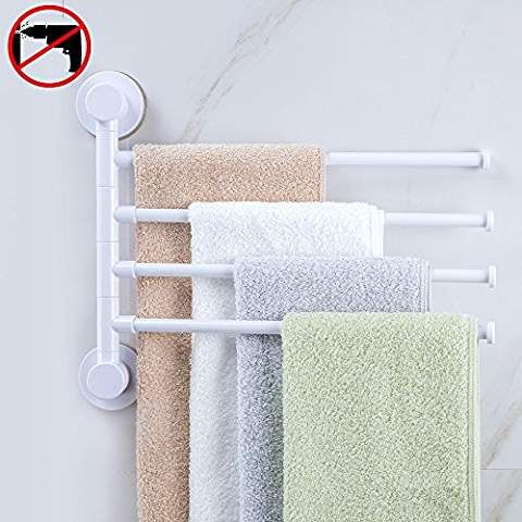 Hoomtaook Swivel Towel Bar Rack Super Vacuum Suction No Drill Waterproof Heavy Duty Removable Reusable Bathroom Shower Organization 4 Bath Folding