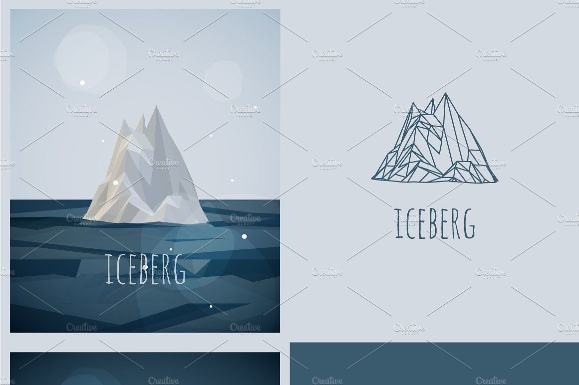 Vector Low Poly Iceberg Poster Low Poly Poster Poly