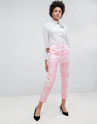 Asos Pantalones de corte slim de cuadros rosas de ASOS Tailored RCGIQ