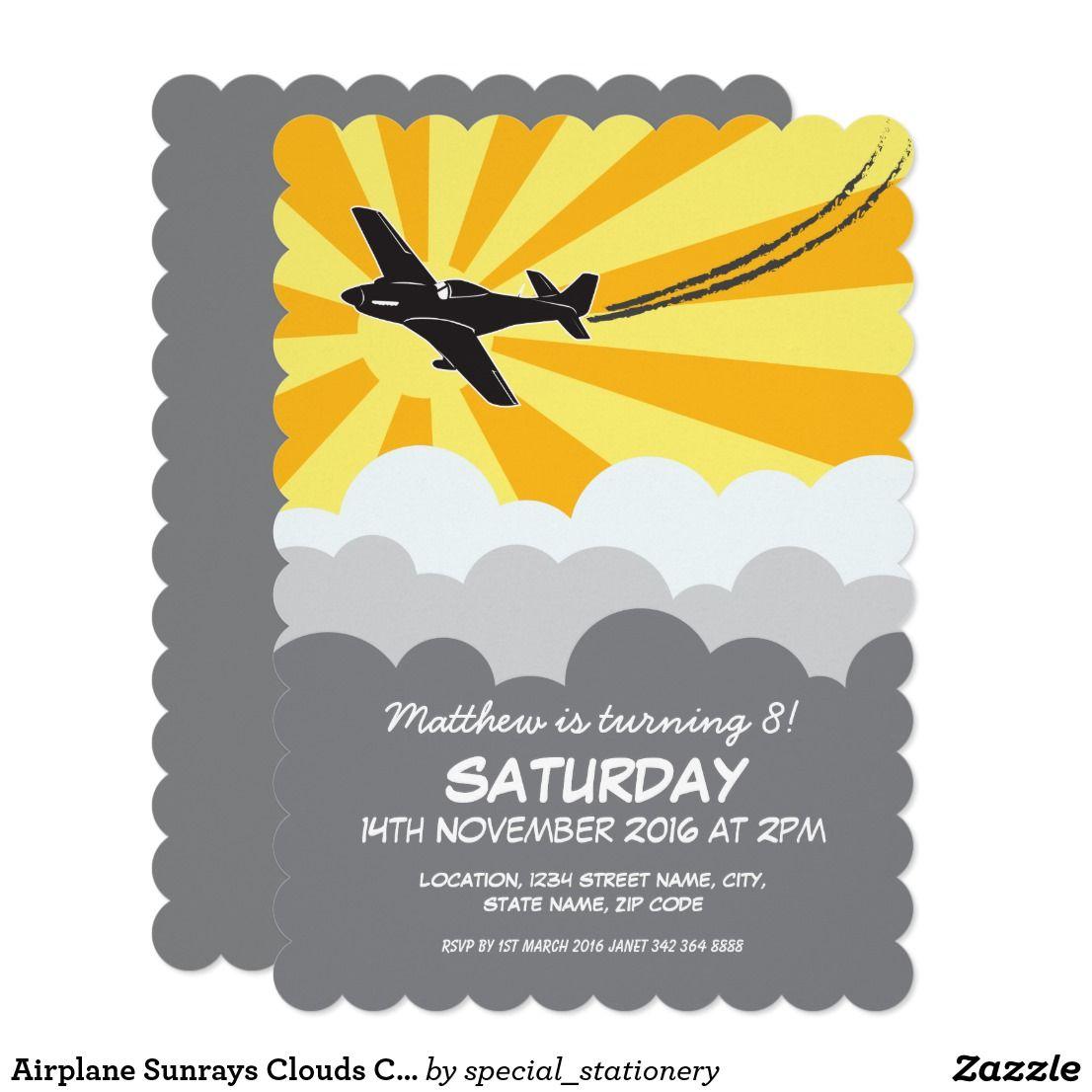 Airplane Sunrays Clouds Custom Kids Birthday Card   Birthday Bash ...