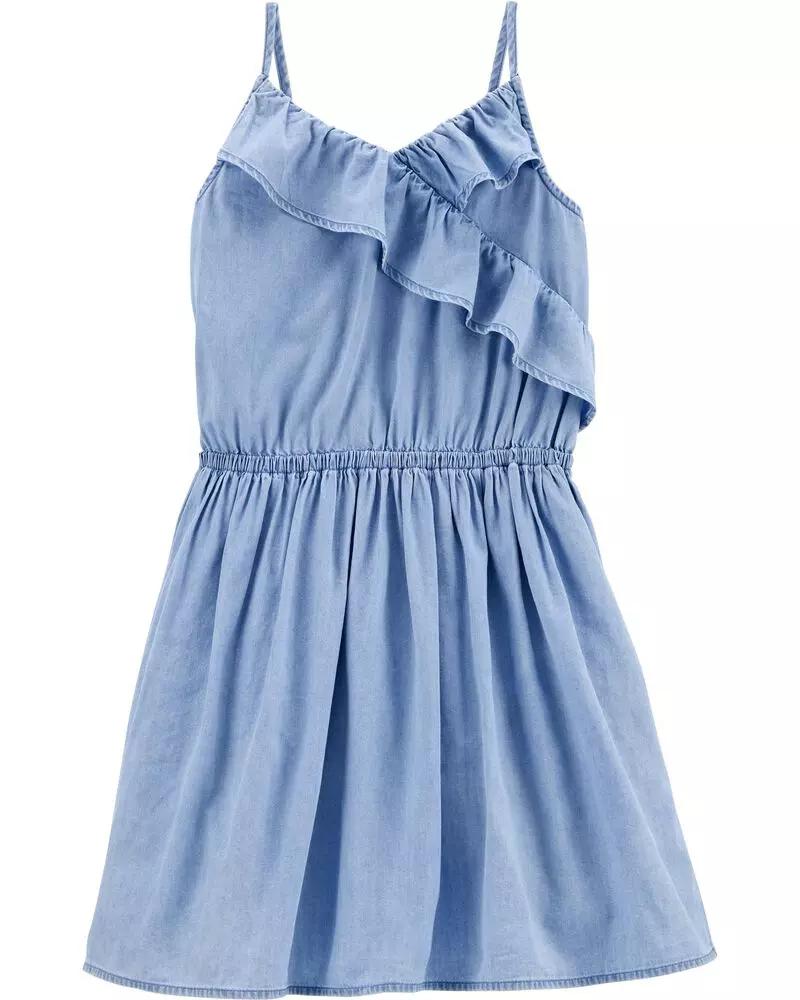 Ruffle Denim Dress Denim Ruffle Dress Comfy Dresses Dresses [ 1000 x 800 Pixel ]