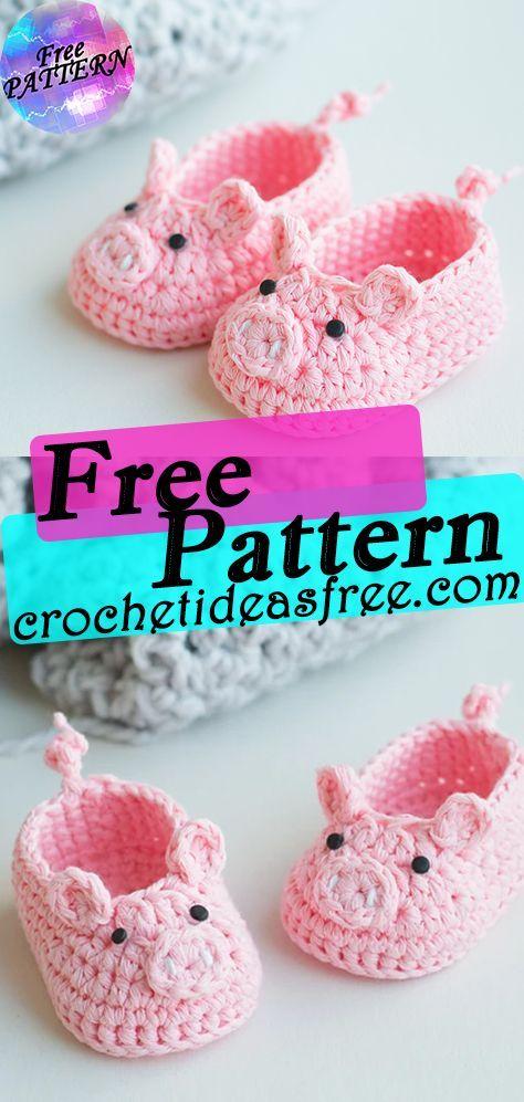 Piggy Crochet Baby Booties Free crochet pattern crochetideasfree.com #crochet,#free,#patterns,#freepattern,#diy,#crafts,#knitting,#freepatterncrochet,#freepattern,#freecrochet,#freecrafts,#patterncrochet,#diycrochet,#craftscrochet,#patternknitting