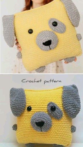 Photo of crochet pattern pillow, crochet dog, amigurumi dog, amigurumi toys, crochet deco…