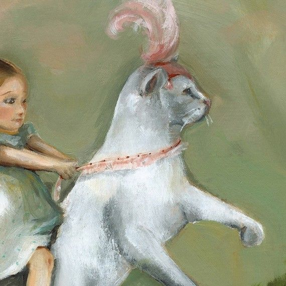 """Eunice and her circus cat"" (detail) - by Amber Alexander"