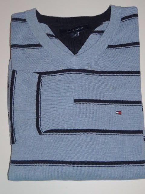 Tommy Hilfiger Men's Blue Knit V-Neck 100% Cotton L/S Sweater Sz: XL & XXL SALE #TommyHilfiger #VNeckPullover