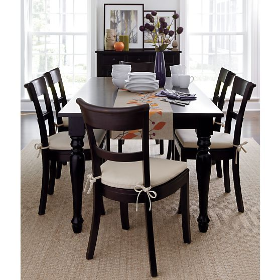 Kipling Mahogany Side Chair And Ivory Cushion In Dining Chairs Crate And Barrel Love The Chairs Home Dining Table Chairs Dining Chairs Dining Room Ta