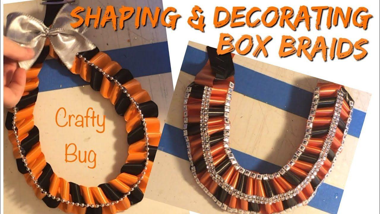 HOMECOMING MUM BOX BRAID TEARDROP & U-SHAPES; homecoming mums braids and chains