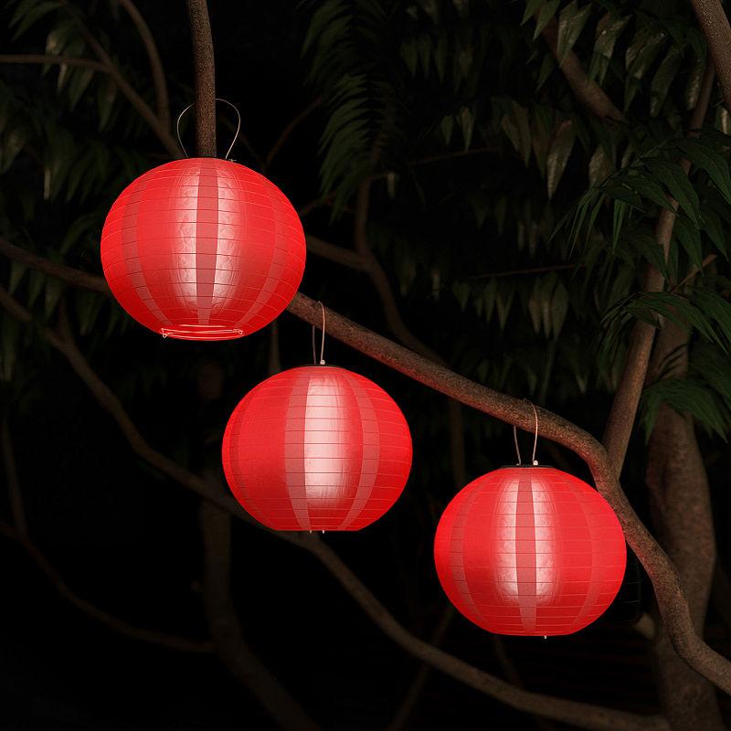Pure Garden Set Of Three Chinese Hanging Fabric Lanterns Outdoor Hanging Lanterns Hanging Fabric Hanging Lanterns