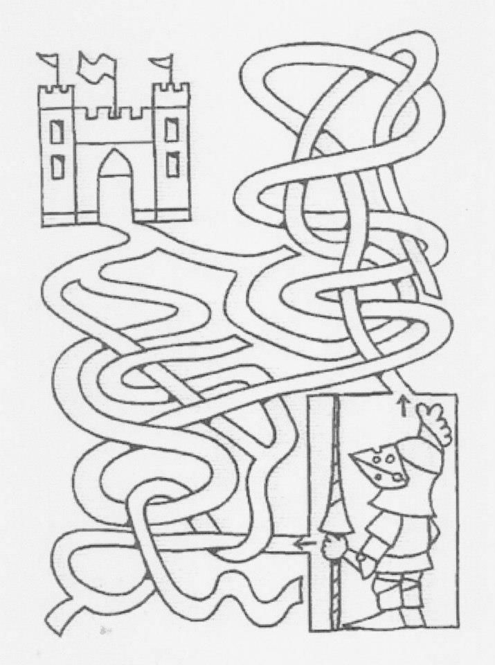 Zoek de weg naar het kasteel | Thema Ridders en jonkvrouwen | Pinterest