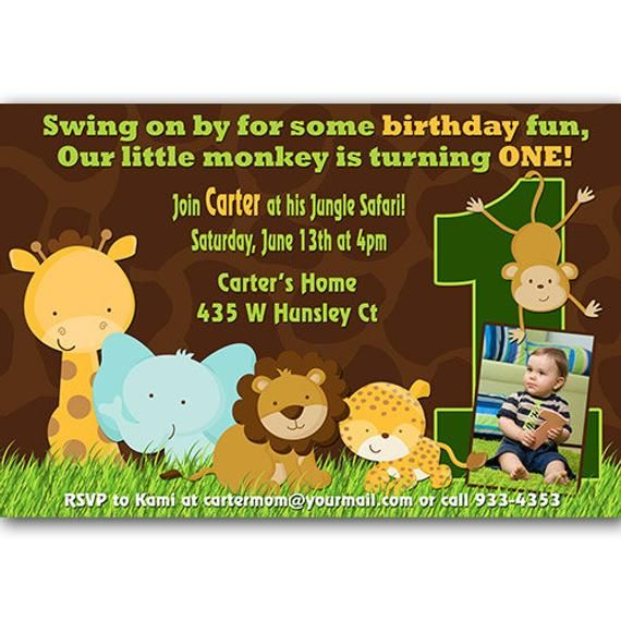 Safari First Birthday Invitations Animal Party 1st Theme