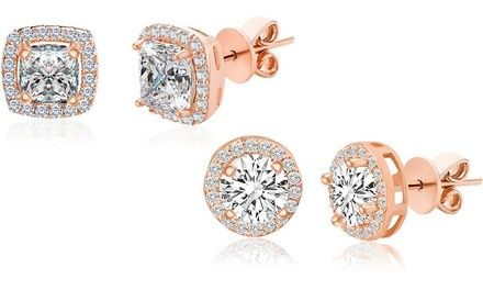 e31e7cf9c Lesa Michele Rose Gold Plated Sterling Silver Halo Studs with Swarovski  Crystals Was: $79 Now: $9.99.