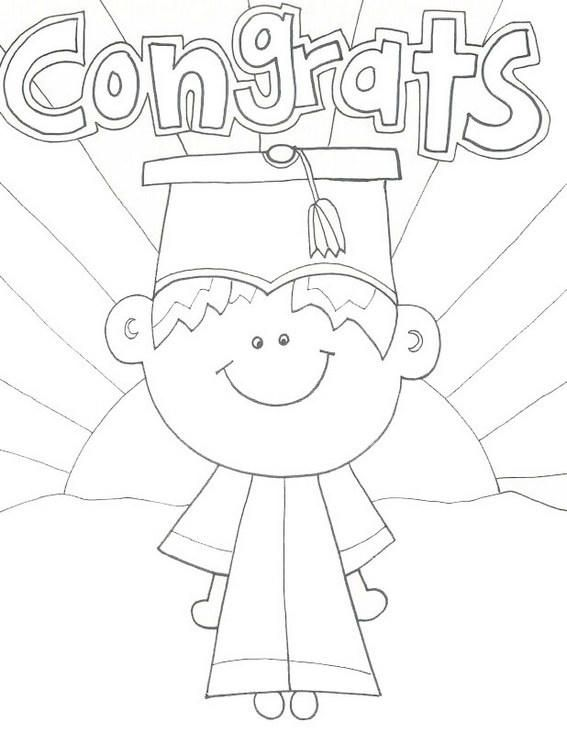 Cartoon Kids Graduation Coloring Sheet (With images