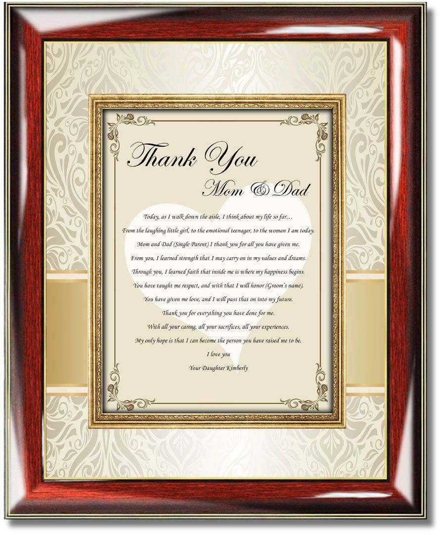Appropriate Amount Of Cash For Wedding Gift: Thank You Parents Wedding Gift Plaque