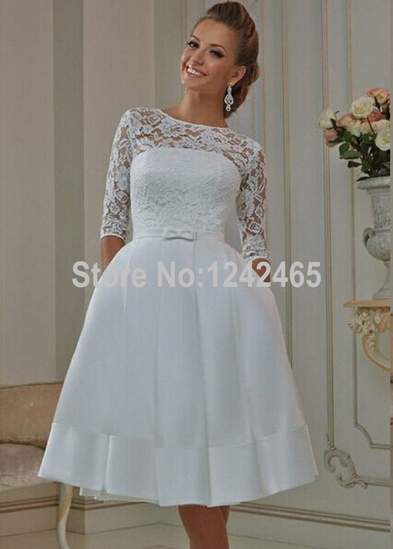 Cheap Top Lace Short Wedding Dresses 2016 With Pockets Half Sleeve A ...