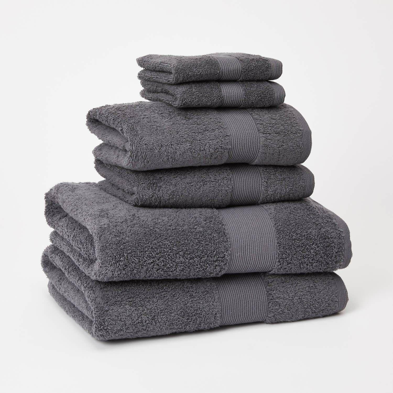 Basic 6 Piece Towel Set Dark Grey Towel Set Towel Bathroom
