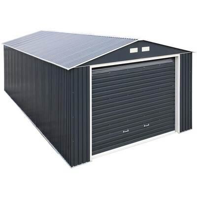 Duramax Building Products Common 12 Ft X 26 Ft Interior Dimensions 10 63 Ft X 24 42 Ft Imperial Metal Garage Galvanized Steel Storage Shed Lowes Com In 2020 Steel Storage Sheds Metal Garages Steel Sheds