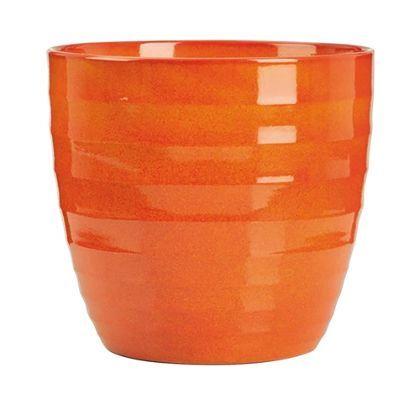 Ceramic Indoor Plant Pot In Red Orange 22cm