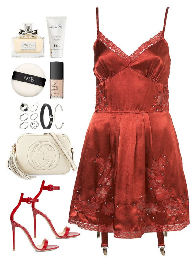 """""""Sem título #5199"""" by fashionnfacts ❤ liked on Polyvore featuring Gianvito Rossi, Gucci, ASOS, NARS Cosmetics and Christian Dior"""