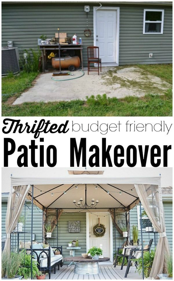 Back Patio Makeover Full Reveal Source List Patio Makeover Backyard Makeover Budget Backyard