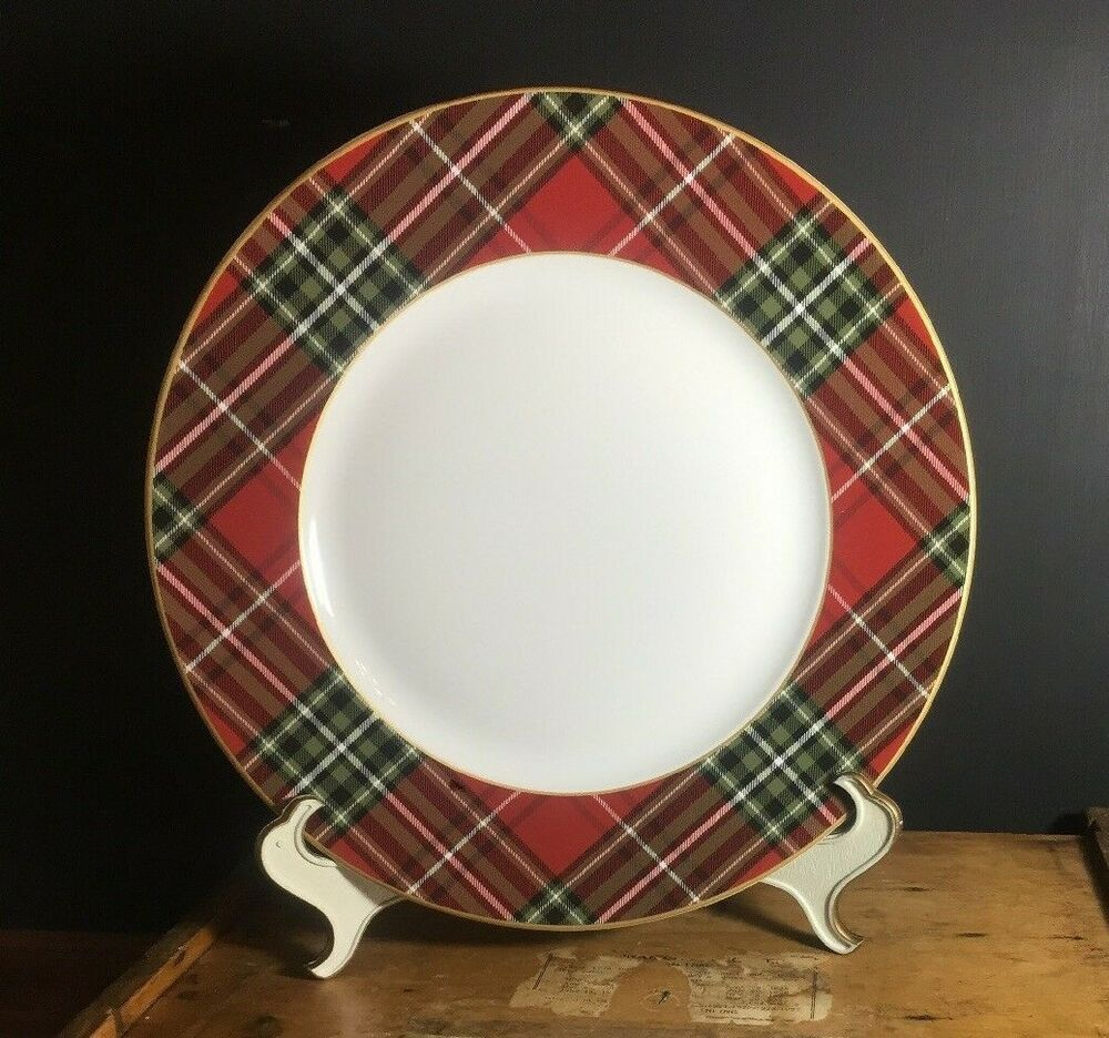 222 fifth Wexford Plaid Red Salad Plate Set Of 8 New