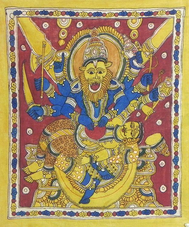 Vishnu as Narasimha Avatar Killing Demon Hiranyakashipu (Kalamkari Paintings on Cotton - Unframed))