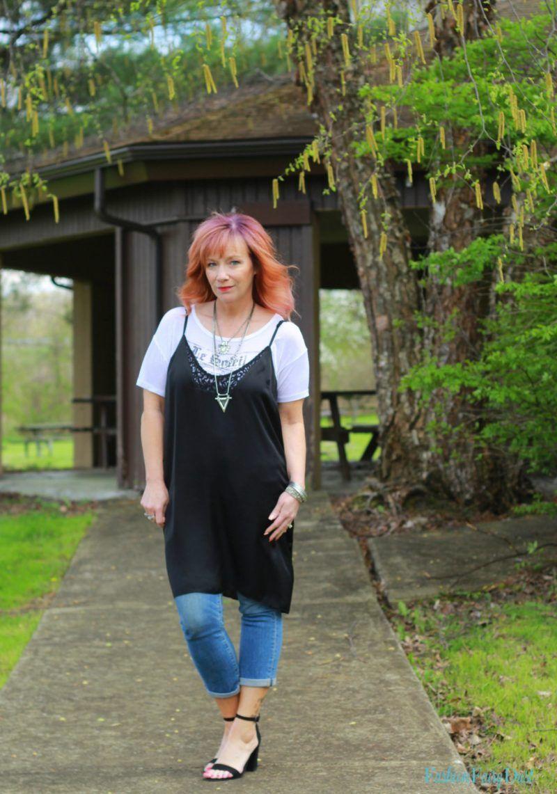 Black slip dress with jeans