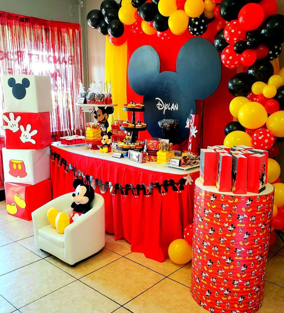Mickey Mouse Birthday Party Ideas Photo 4 Of 16 Mickey Mouse Themed Birthday Party Mickey Mouse Birthday Decorations Mickey Mouse Party Decorations