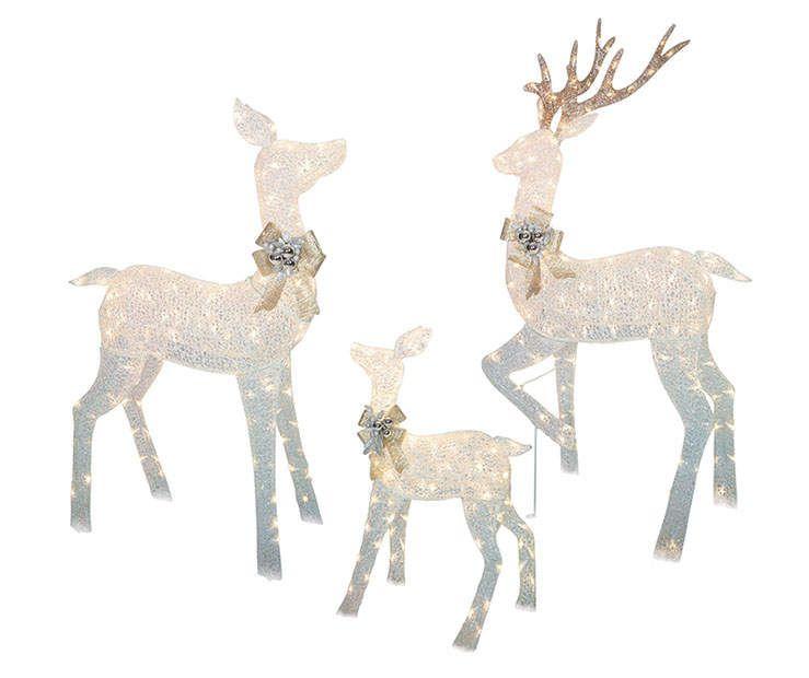 White Led Light Up Deer Family 3 Piece Set Big Lots Reindeer Outdoor Decorations Deer Family Outdoor Reindeer
