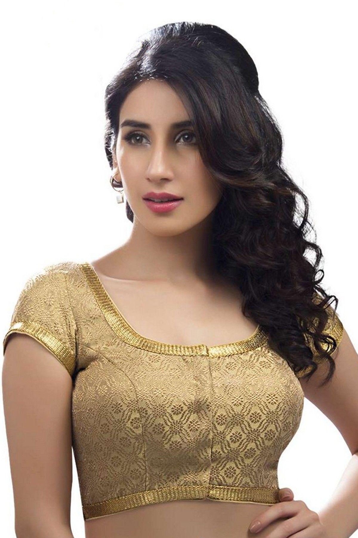 e92a769a7b4459 Light gold festive wear banarasi self embossed blouse with cap sleeves  -BL698 | designer blouse online india | #goldenblouse #festive #wears  #womens #cloth