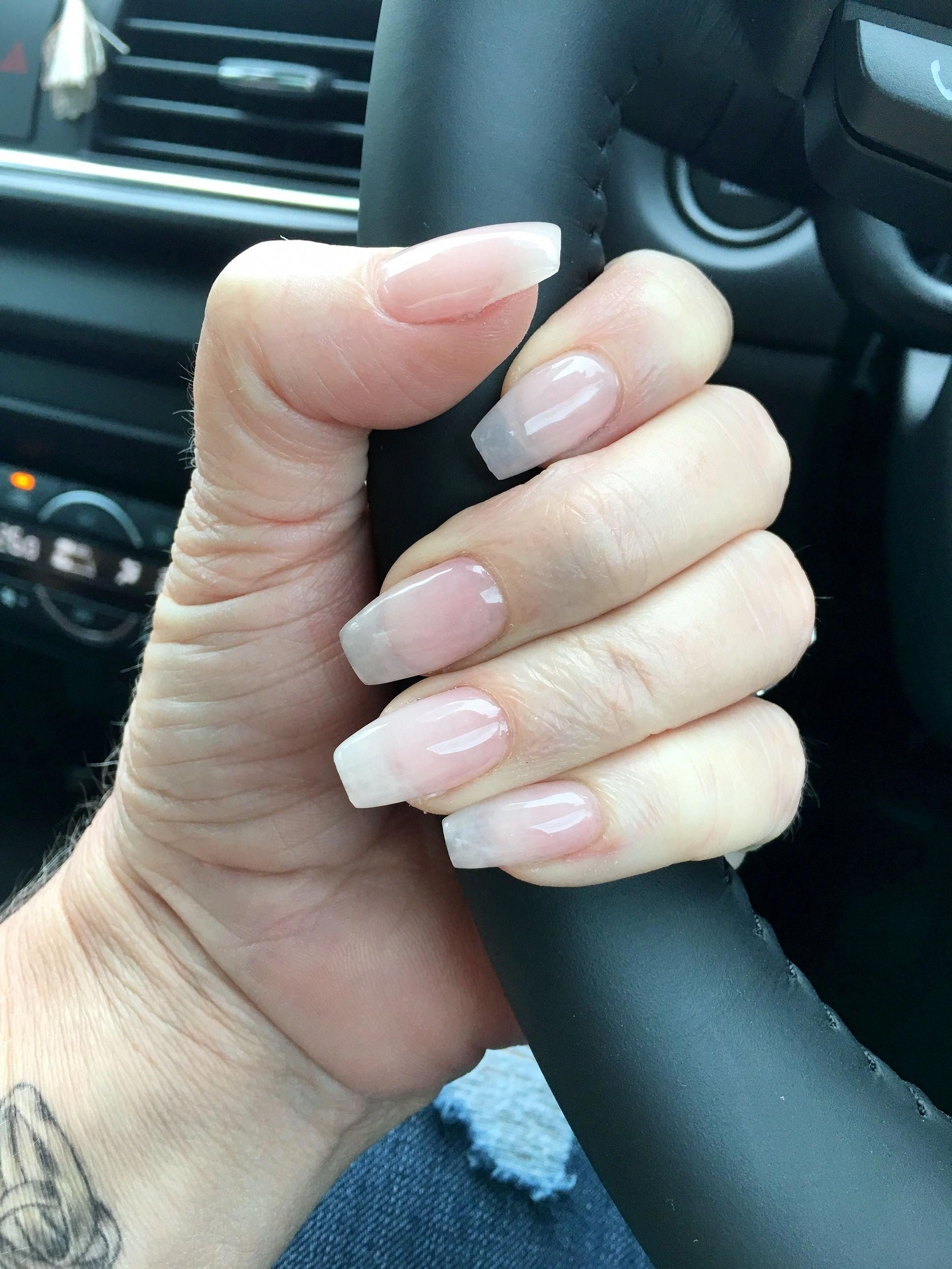Acrylic Overlay With Sheer Gel On Natural Nails Love Shortnaildesigns Gel Overlay Nails Natural Acrylic Nails Natural Gel Nails