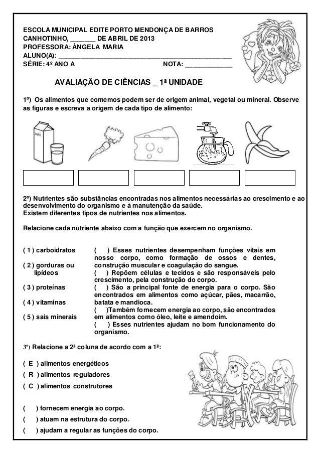 Avaliacao De Ciencias Escola Edite Porto 2013 Com Imagens