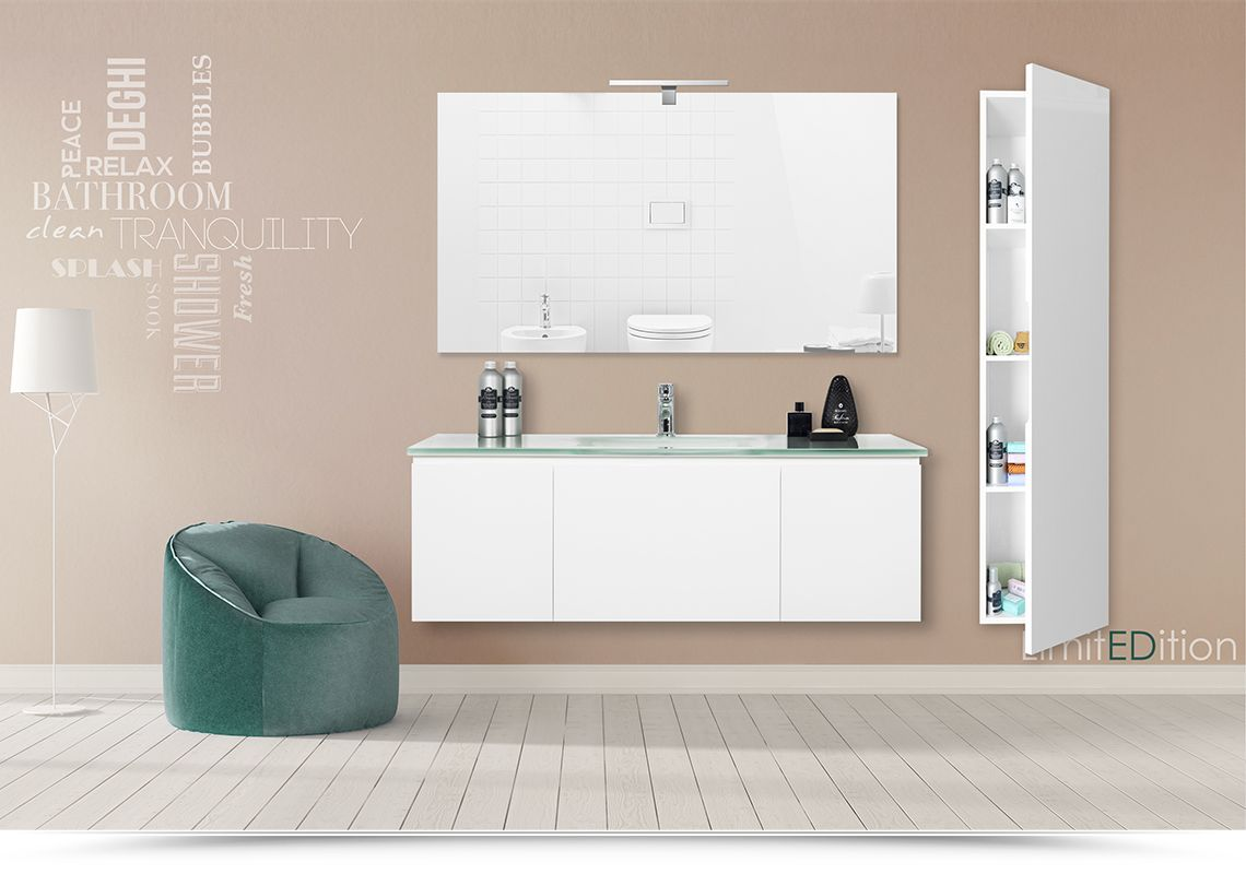 Bagno Bianco ~ Mobile lavabo sospeso 123cm bianco laccato lucido con colonna