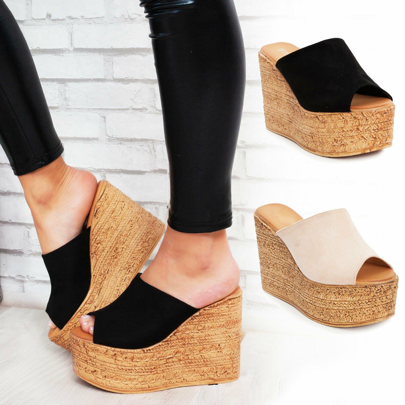scarpe zeppa corda donna sandali zatteroni cinturino borchie casual elegante