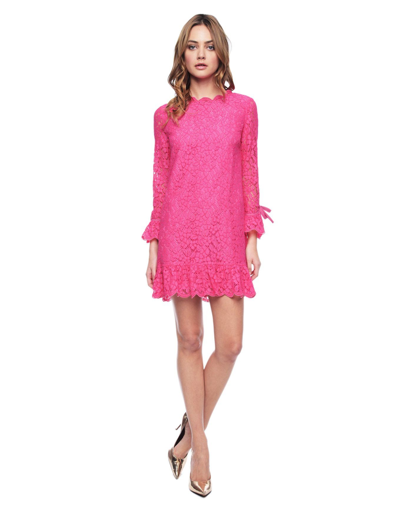 Oh So Pretty In Hot Pink Lace Dress Ornate Lace Dress