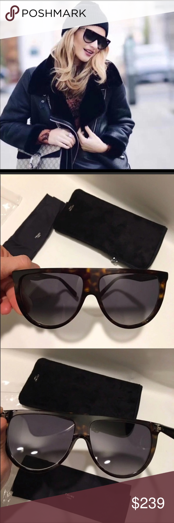 84500806c5cb Celine Thin Shadow Sunglasses Celine 41435 s Thin shadow dark havana  sunglasses 100% new and authentic. Includes original Celine case and Celine  card.