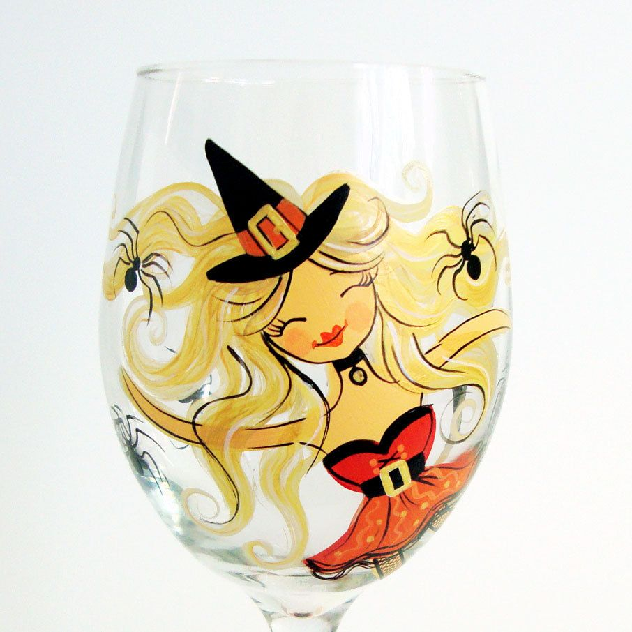halloween hand painted wine glass glastekenen. Black Bedroom Furniture Sets. Home Design Ideas