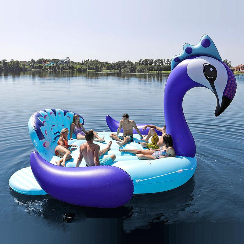 6 Person Inflatable Giant Peacock Pool Float Island Swimming Pool Lake Cool Pool Floats Unicorn Pool Float Pool Floats