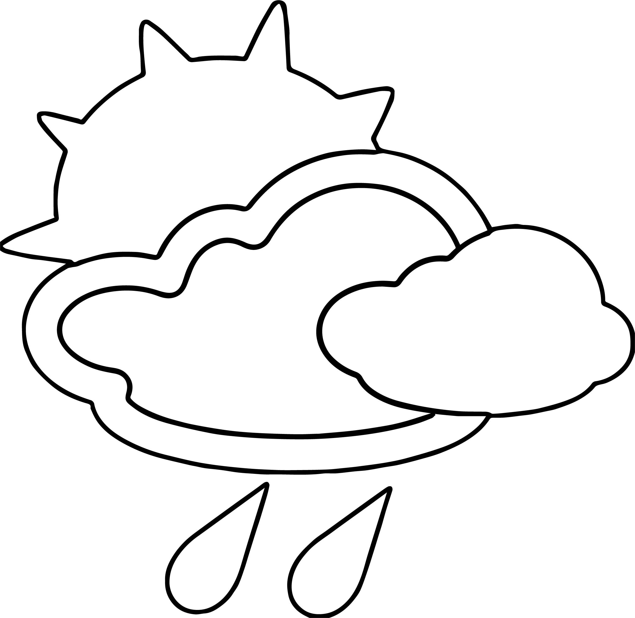 Awesome April Shower Cloud Sun Rain Coloring Page Coloring Pages