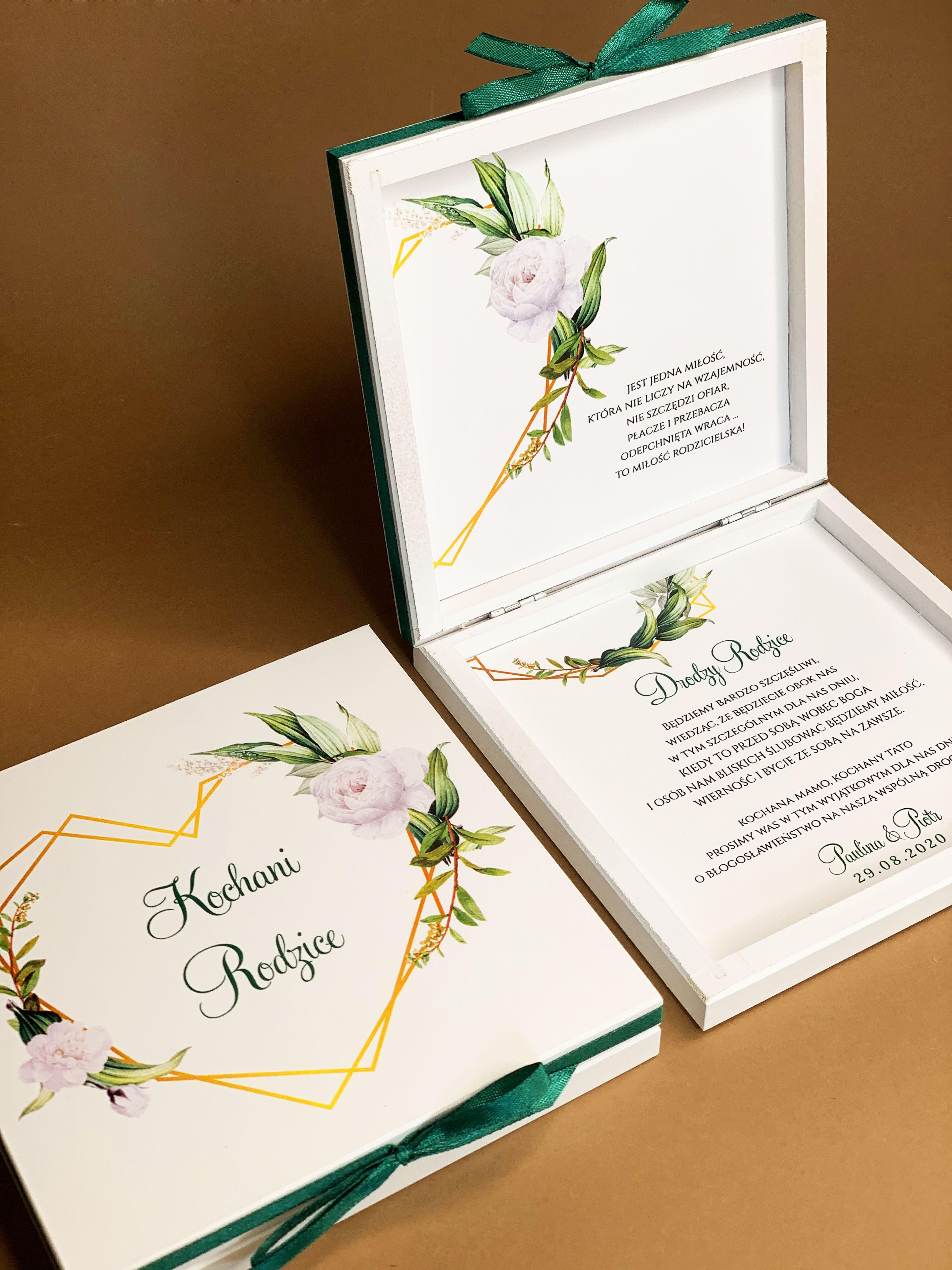 Zaproszenie Slubne Butelkowa Zielen Biale Kwiaty Serce Zlote Geometryczne Zaproszenia Weselne Greenery Panna Mloda Wes Wedding Facebook Sign Up Facebook Sign