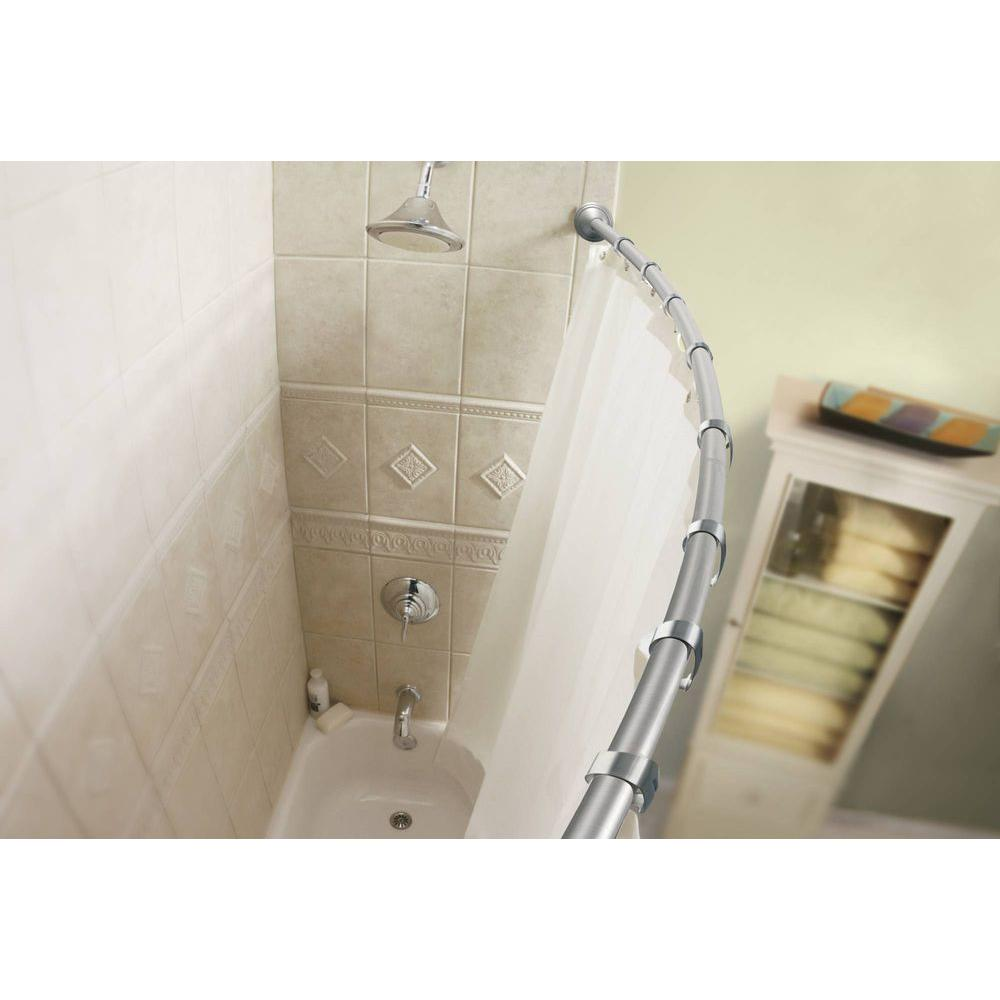 Moen 60 In Decorative Curved Shower Rod In Brushed Nickel