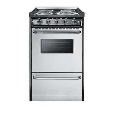 Summit Appliance 20 In 2 5 Cu Ft Slide In Electric Range In Stainless Steel Tem110brwy The Freestanding Electric Ranges Small Stove Tiny House Appliances