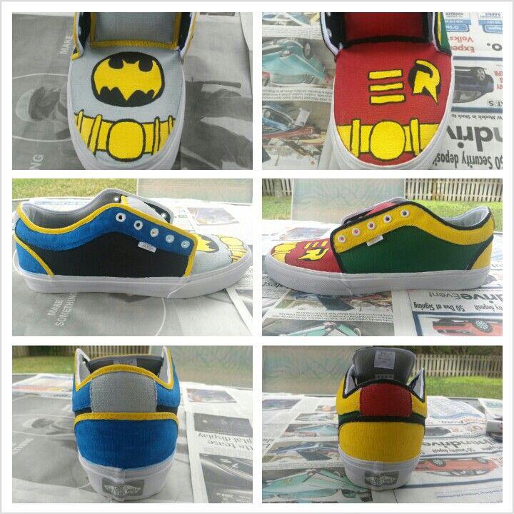 DIY Batman and Robin shoes
