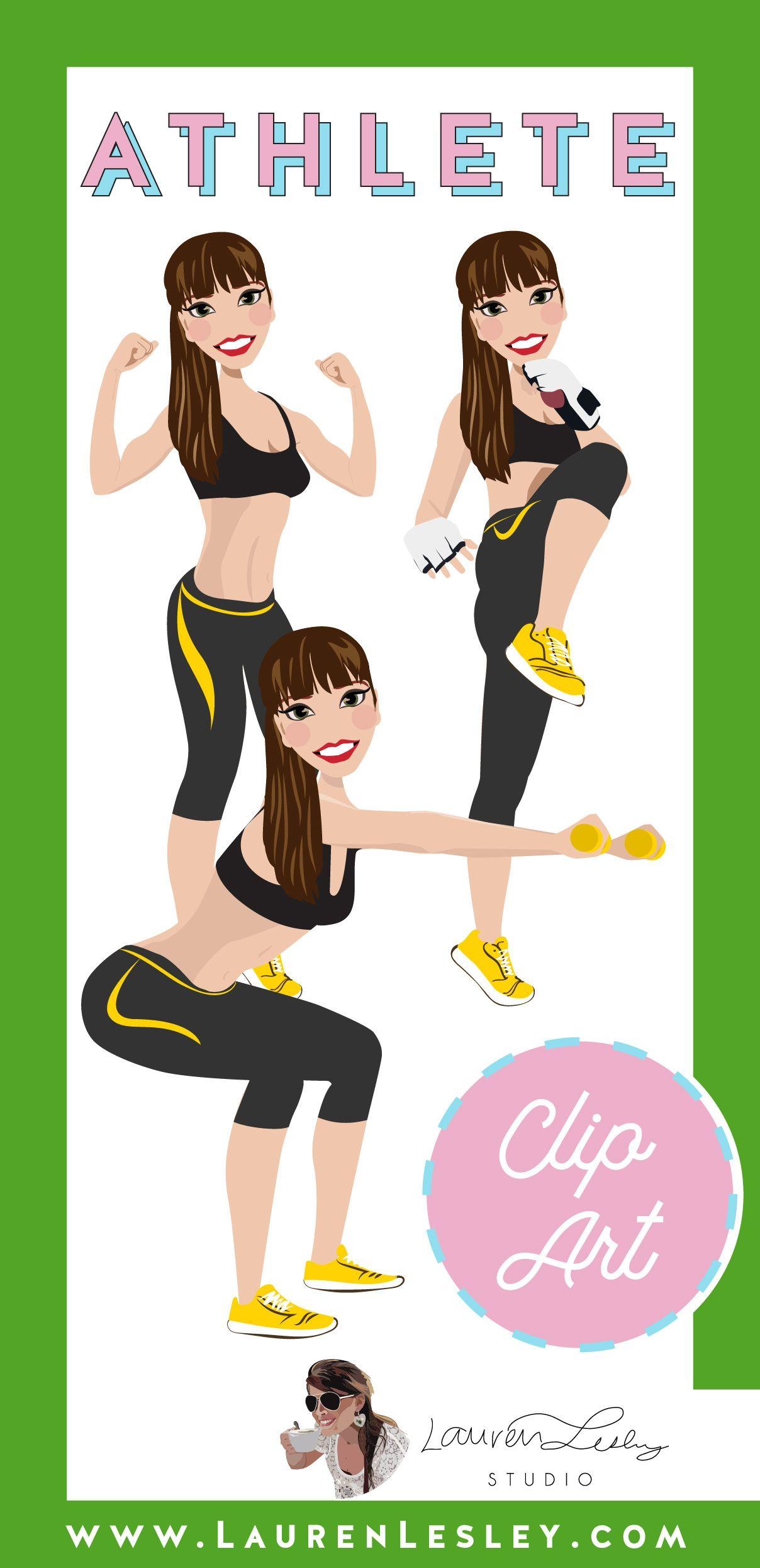 Athlete Clip Art Magnolia Fitness logo design