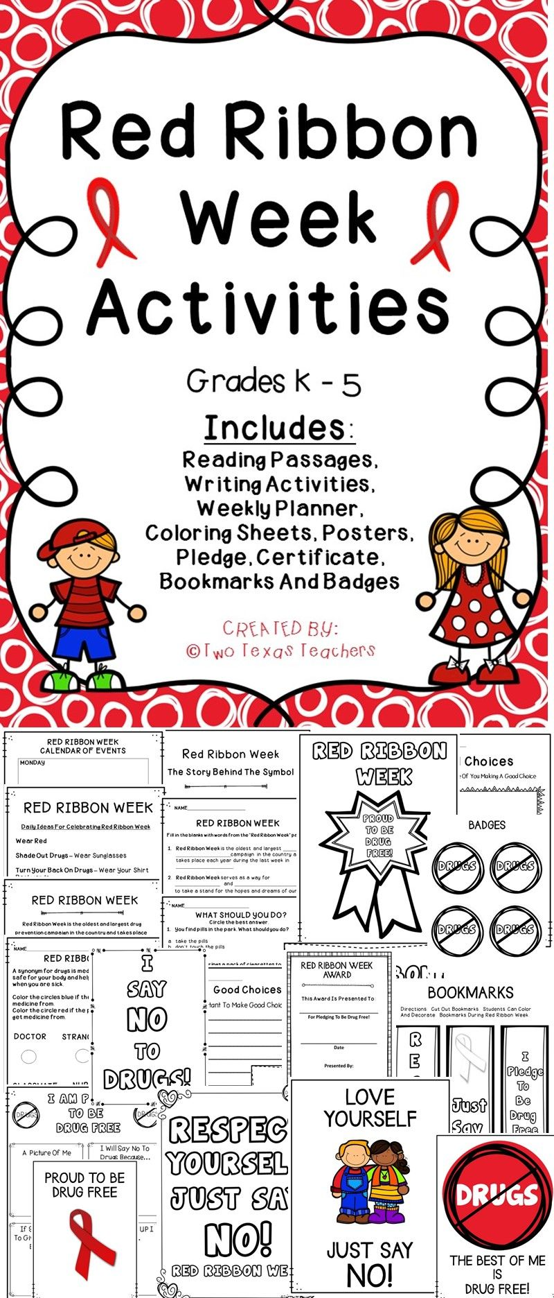 Red Ribbon Week Celebrate With This Printable Activity Pack For The Clroom Redribbon