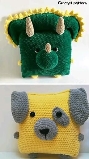 Crochet pattern pillow, amigurumi dog pattern, amigurumi dinosaur, crochet christmas toy, crochet